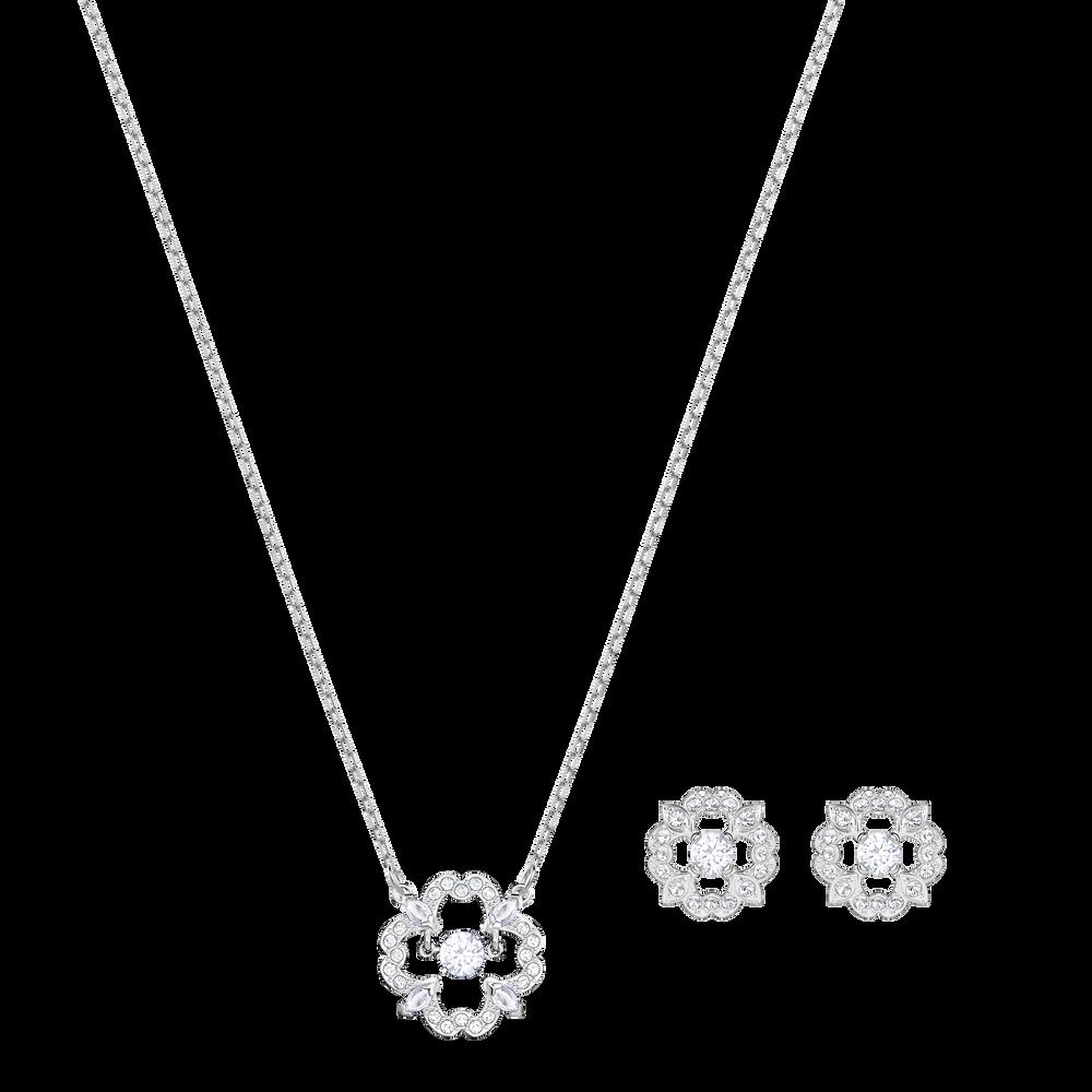 Sparkling Dance Flower Set, White, Rhodium plated