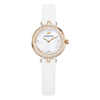 Aila Dressy Mini Watch, Leather strap, White, Rose-gold tone PVD