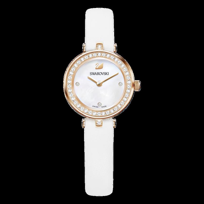 Aila Dressy Mini Watch, Leather strap, White, Rose-gold tone PVD