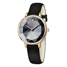 Crystal Lake Watch, Leather Strap, Black, Rose Gold Tone