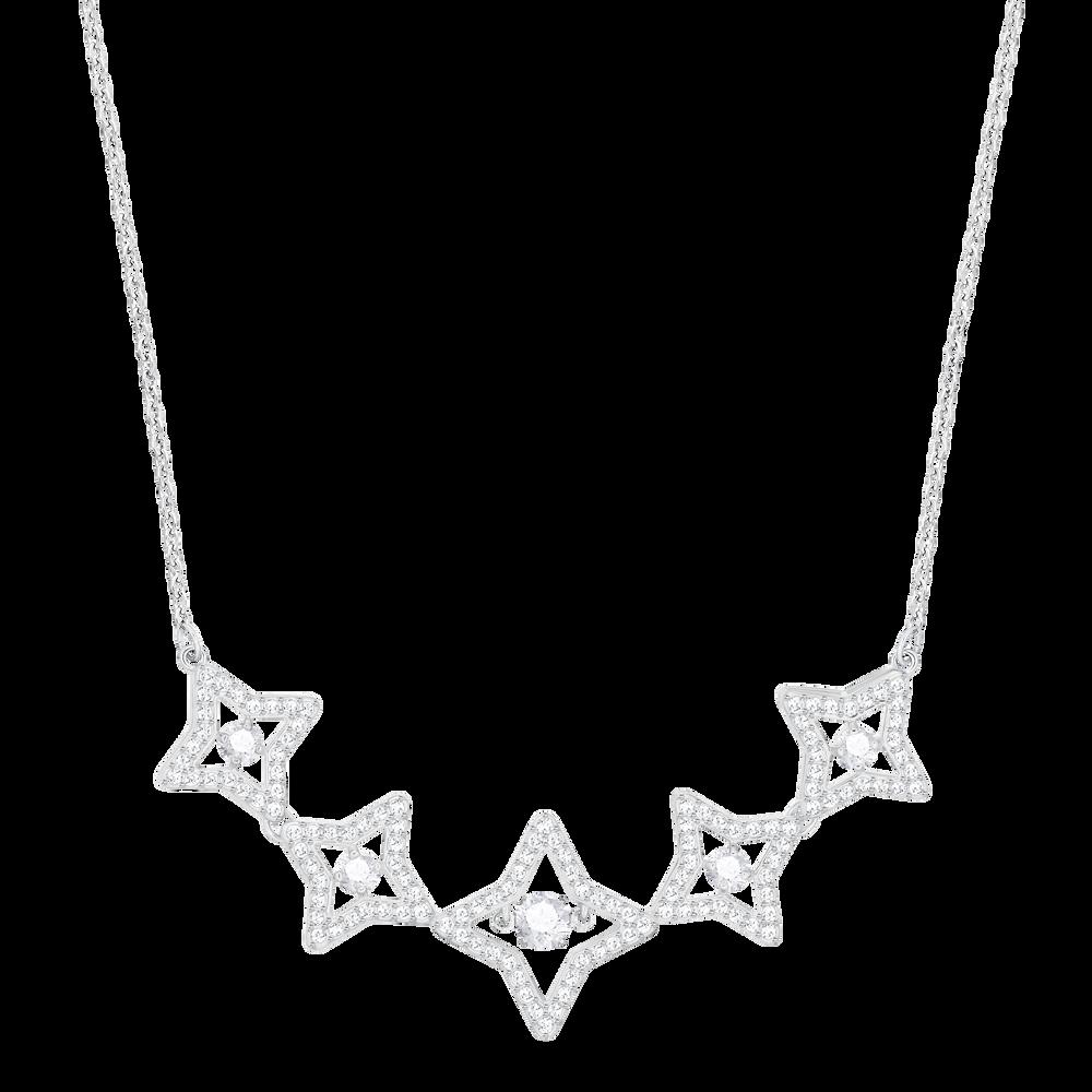 Sparkling Dance Star Necklace, Medium, White, Rhodium plating