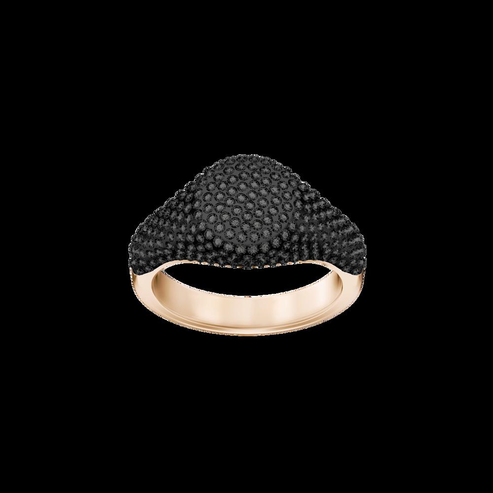 Stone Signet Ring, Black, Rose Gold Plating