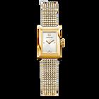 Memories Watch, Crystal Mesh strap, White, Gold-tone PVD