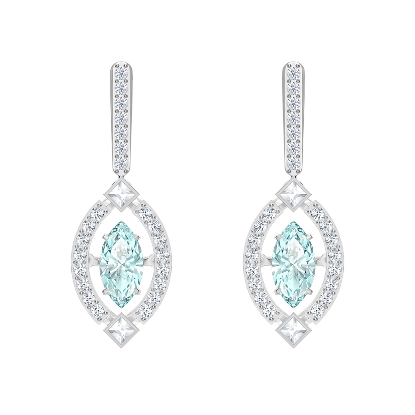 Sparkling Dance Pierced Earrings, Green, Rhodium plated