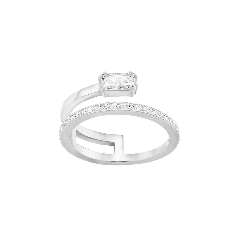 Gray Ring, Small, White, Rhodium Plating