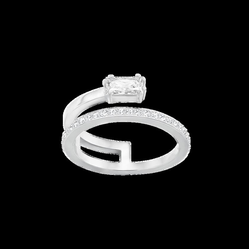 Gray Ring, Small, White, Rhodium Plating