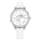 Aila Day Watch, Leather strap, White, Silver Tone