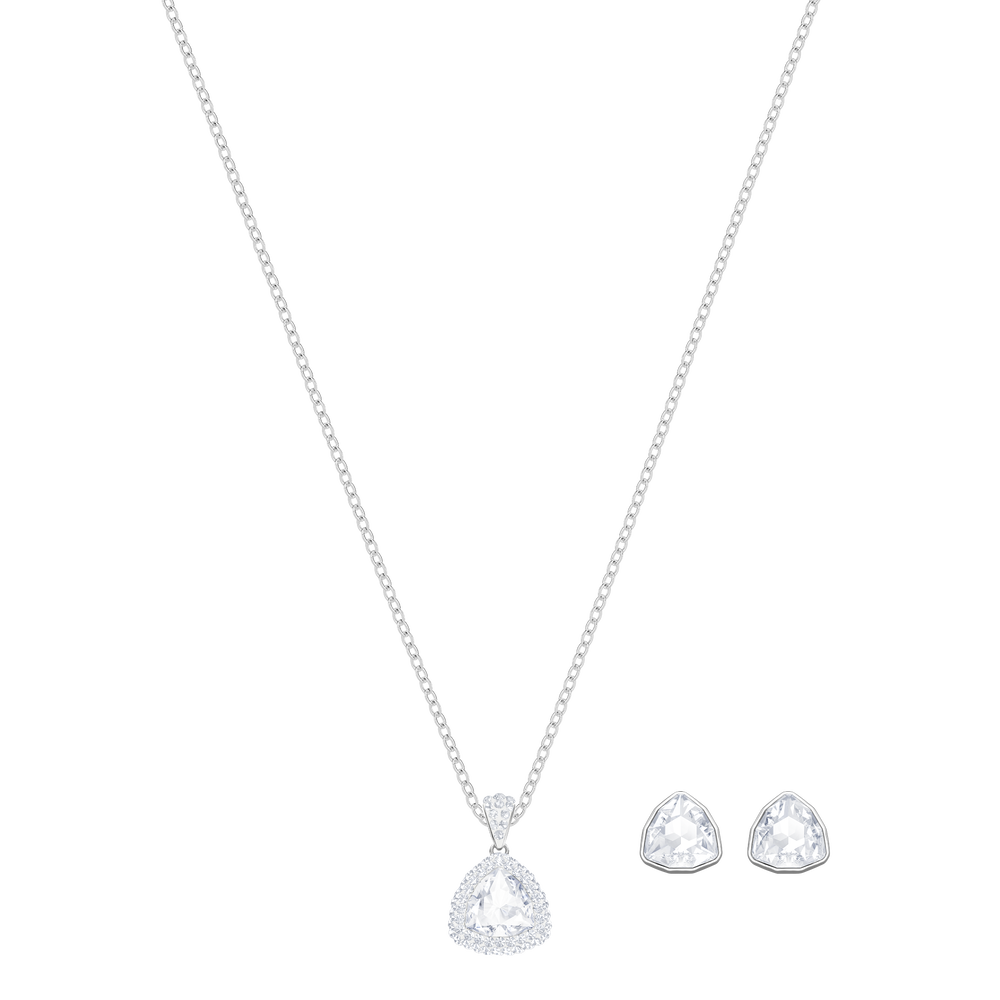 Begin Set, White, Rhodium plated