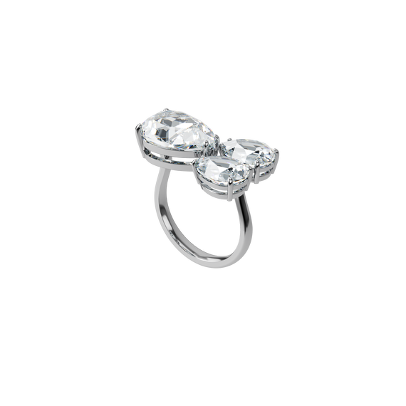 Millenia cocktail ring, Pear cut crystals, White, Rhodium plated