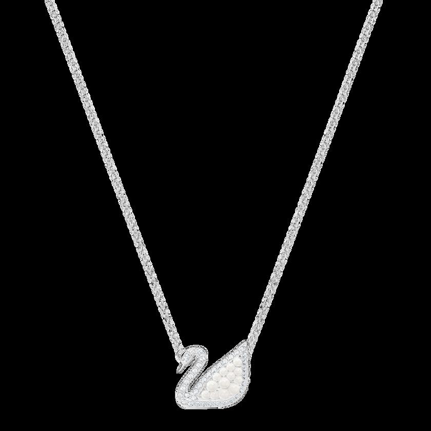 Iconic Swan Necklace, White, Rhodium Plating