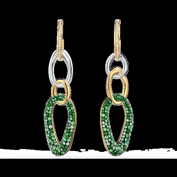 The Elements Pierced Earrings, Green, Mixed metal finish