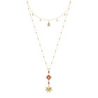 Lucky Goddess Necklace, Multi-colored, Gold plating