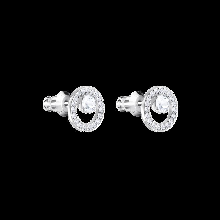 Creativity Circle Pierced Earrings, Small, White, Rhodium Plated