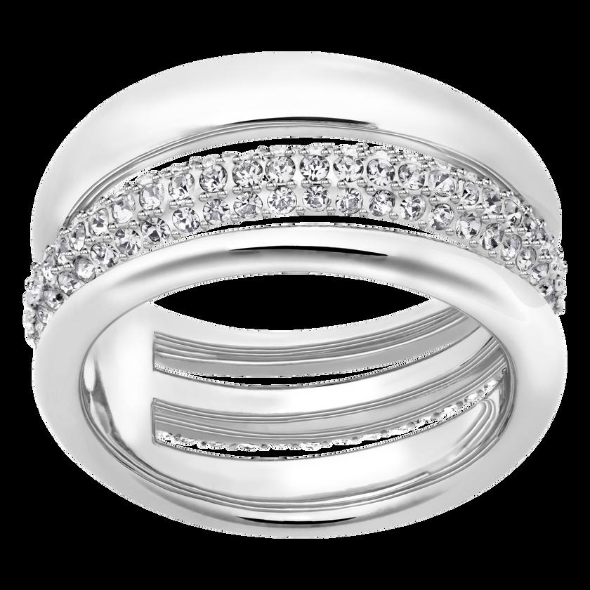 Exact Ring, White, Rhodium Plated