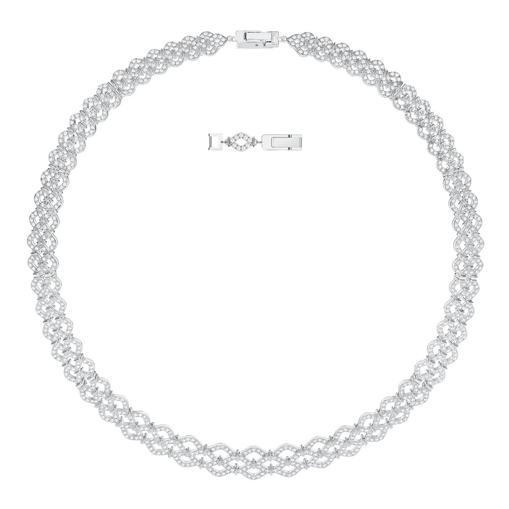 Lace Necklace, White, Rhodium plated