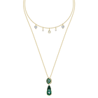 Black Baroque Necklace, Multi-colored, Gold-tone plated