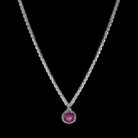 Birthstone Pendant, February, Purple, Rhodium plated
