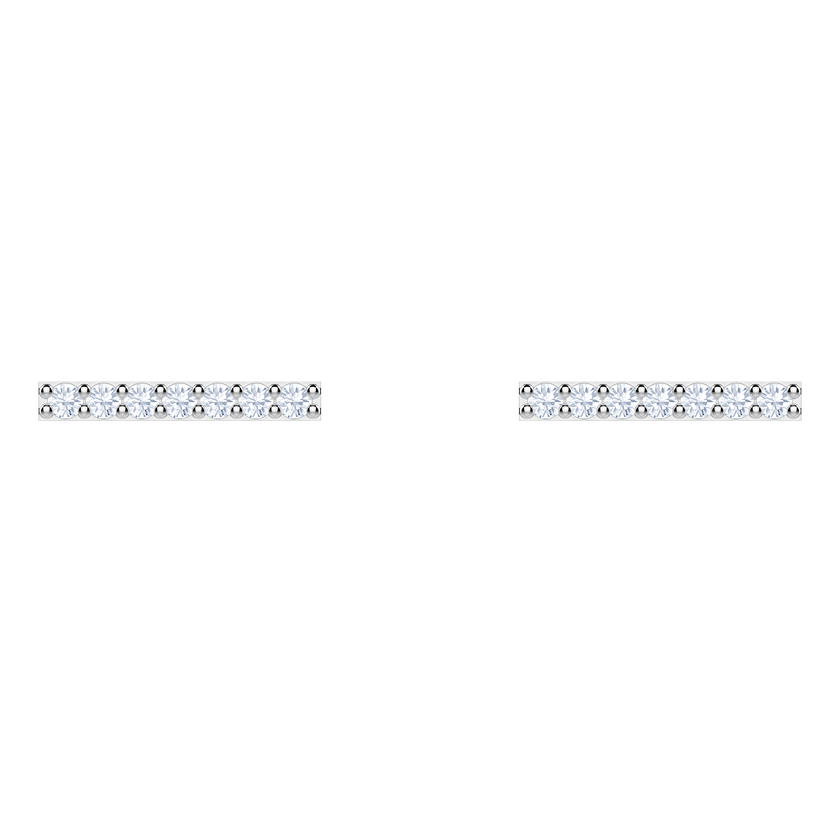 Only Pierced Earrings, White, Rhodium plating