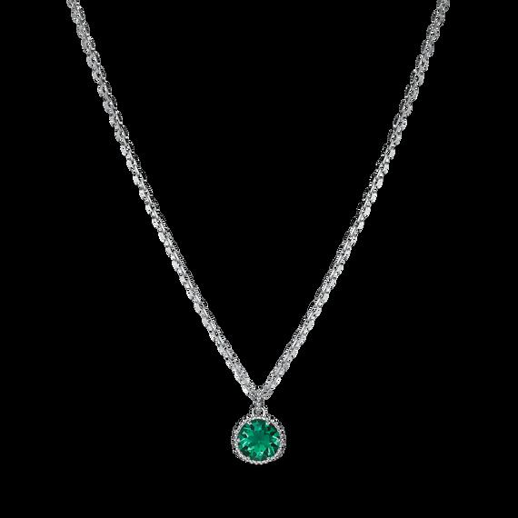Birthstone Pendant, May, Green, Rhodium plated