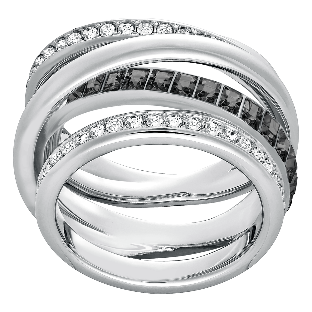 Dynamic Ring, Grey, Rhodium Plated