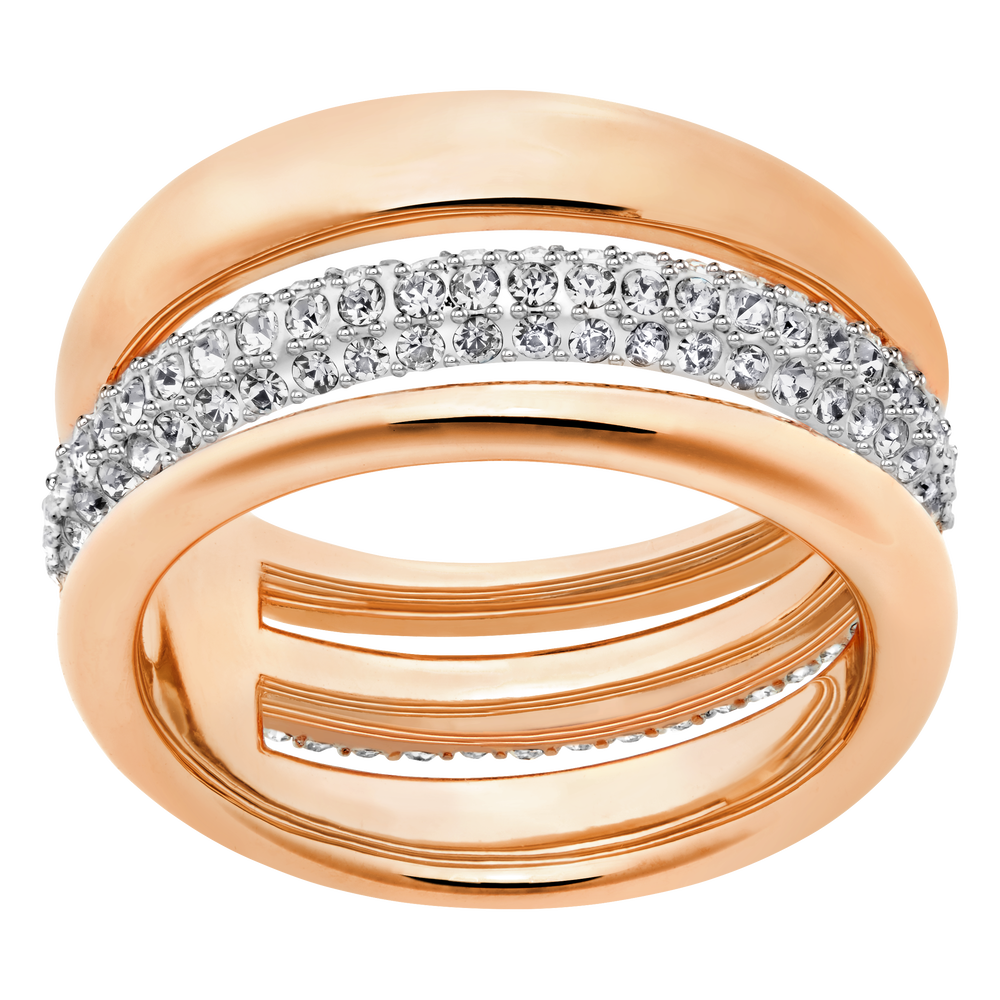 Exact Ring, White, Rose Gold Plated