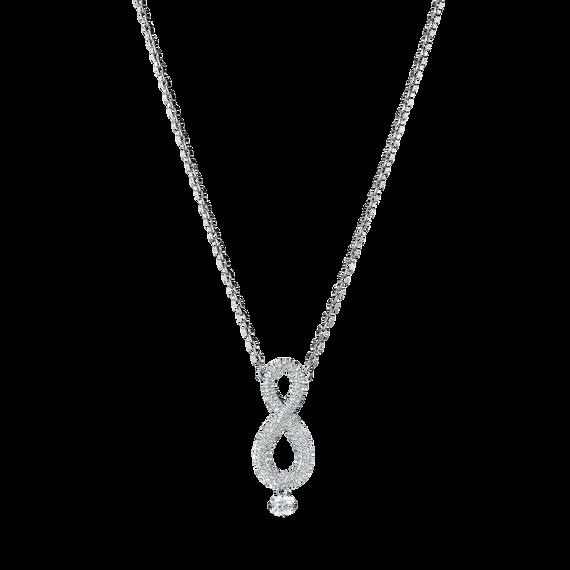 Swarovski Infinity Necklace, White, Rhodium plating