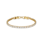 Tennis Deluxe Bracelet, White, Gold-tone plated