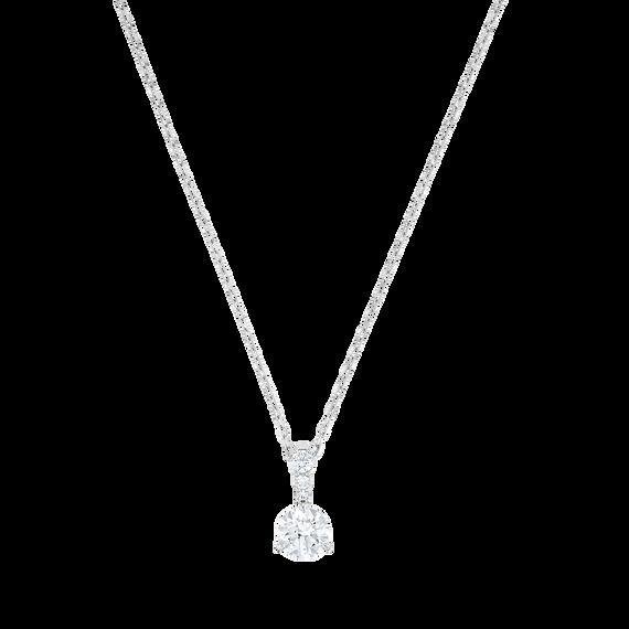 Solitaire Pendant, White, Rhodium plated