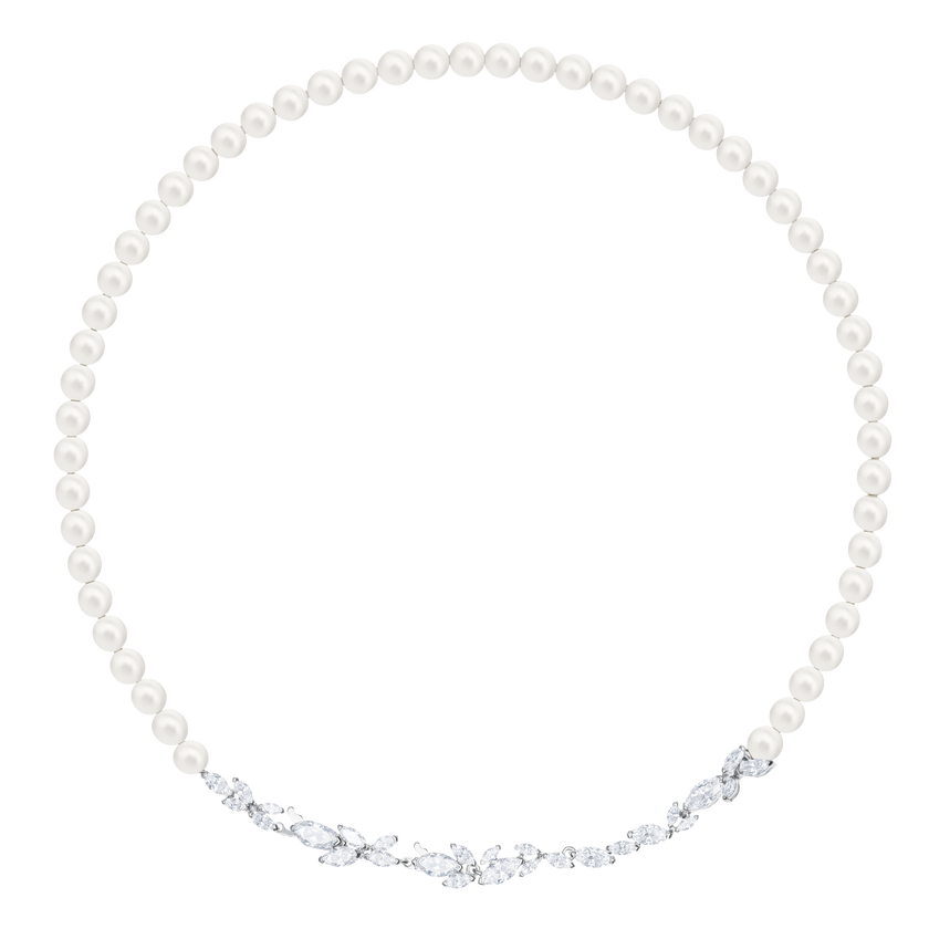 Louison Pearl Necklace, White, Rhodium Plating