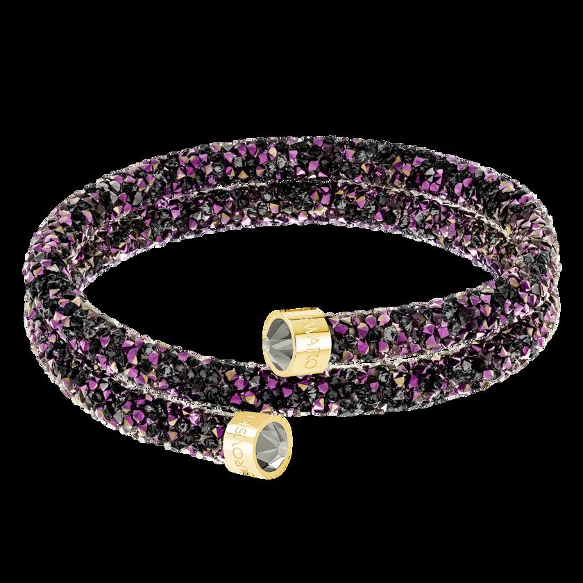 Crystaldust Double Bangle, Multi-colored, Gold-tone plated