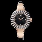 Crystal Rose Watch, Metal Bracelet, Black, Rose-gold tone PVD