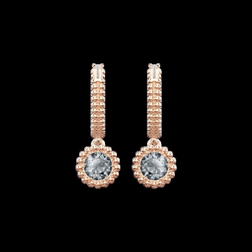 Oxygen Pierced Earrings, Gray, Rose gold plating