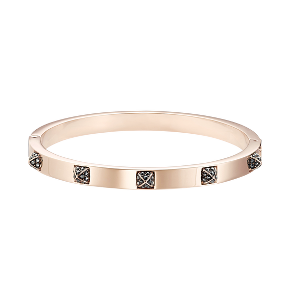 The Tactic Bangle, Black, Rose-gold tone plated