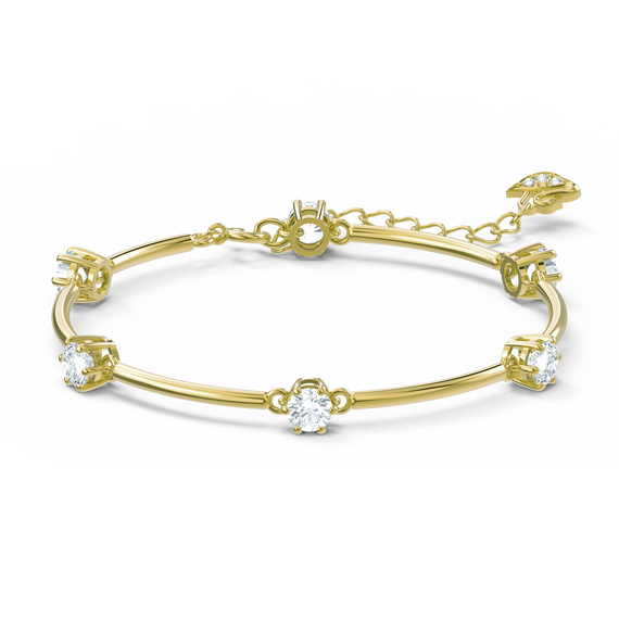 Constella bangle, White, Gold-tone plated