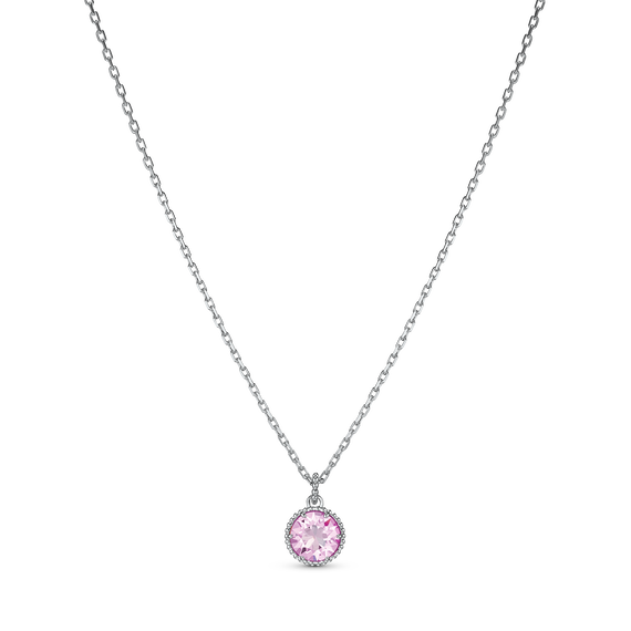 Birthstone Pendant, June, Pink, Rhodium plated