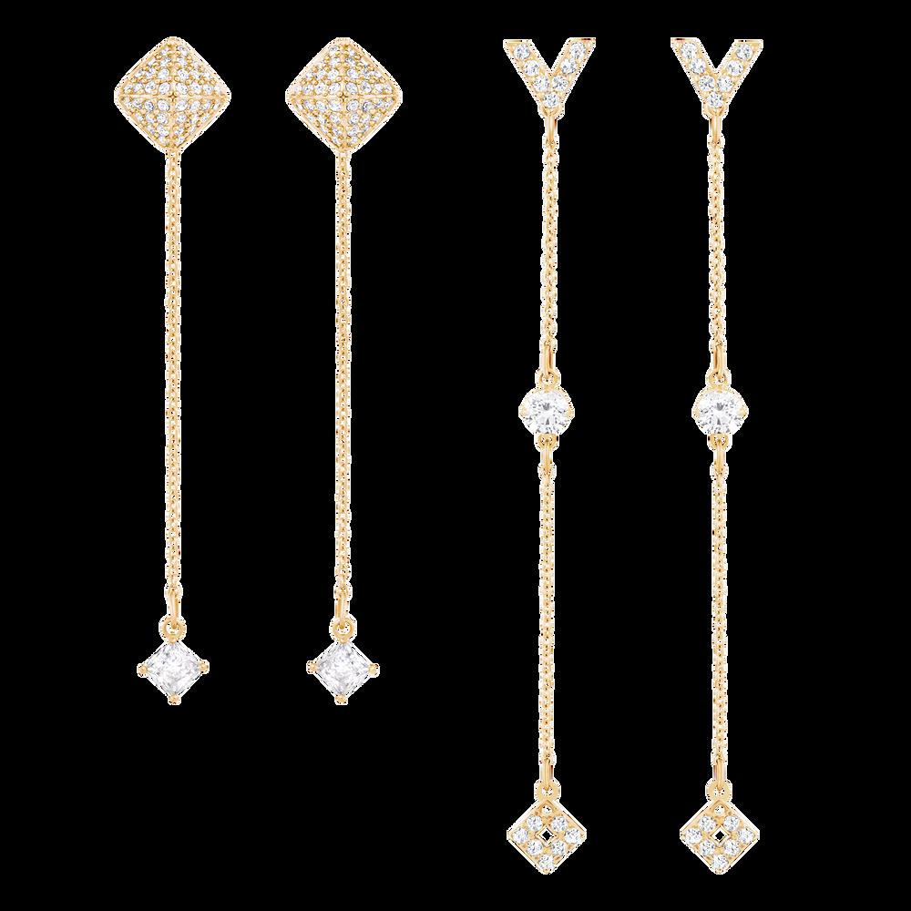 Grapefruit Pierced Earrings, White, Rose gold-toned plated