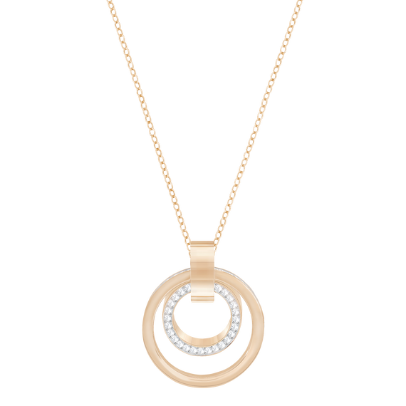Hollow Pendant, Medium, White, Rose Gold Plated