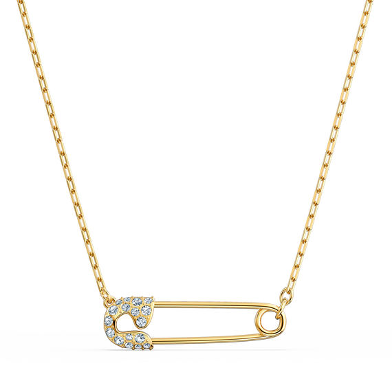 So Cool Pin Necklace, White, Gold-tone plated