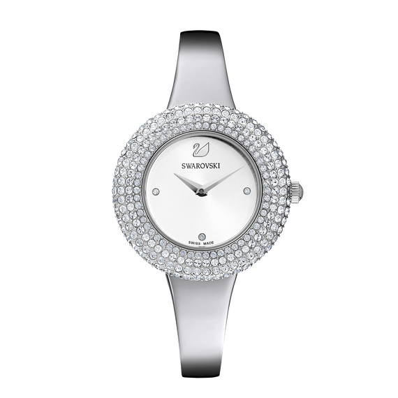 Crystal Rose Watch, Metal Bracelet, White, Stainless Steel