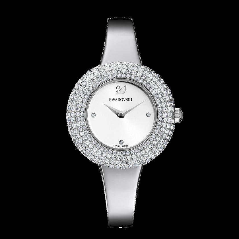 Crystal Rose Watch, Metal Bracelet, White, Stainless Steel
