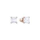 Attract Stud Pierced Earrings, White, Rose Gold Plating