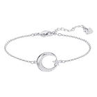 Crescent Star Bracelet, White, Rhodium plated