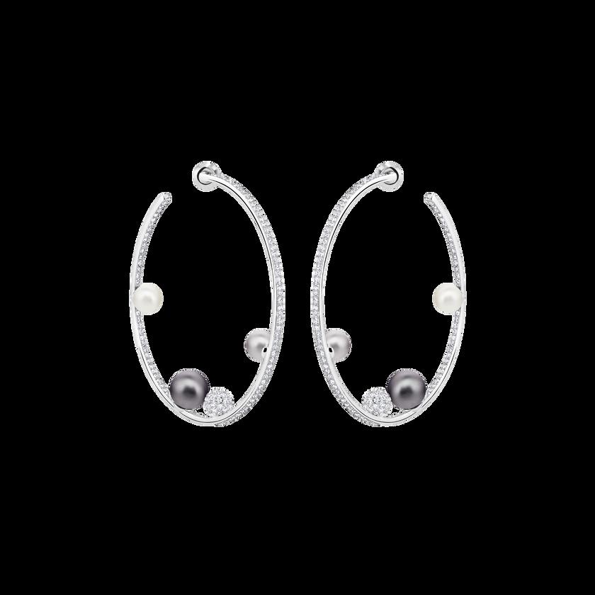 Canopy Hoop Pierced Earrings, Multi-colored, Rhodium plated
