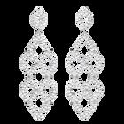 Lace Chandelier Pierced Earrings, White, Rhodium plated