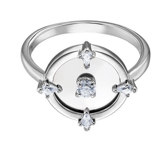 North Motif Ring, White, Rhodium plated