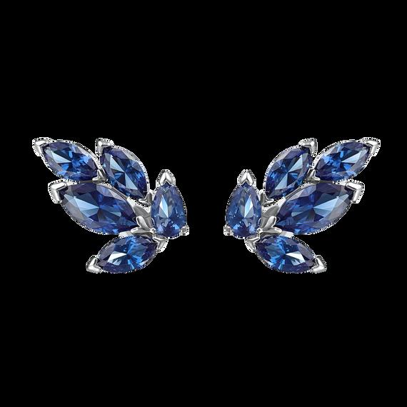 Louison Stud Pierced Earrings, Blue, Rhodium plated
