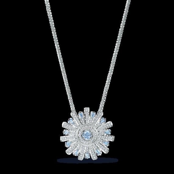 Sunshine Necklace, Blue, Rhodium plated