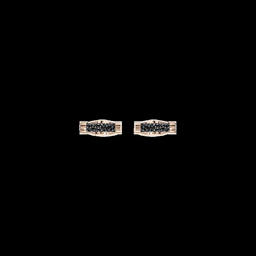 Crystaldust Cuff Links, Black, Rose Gold Plating