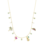 Lime Charms Necklace, Multi-colored, gold-toned plated
