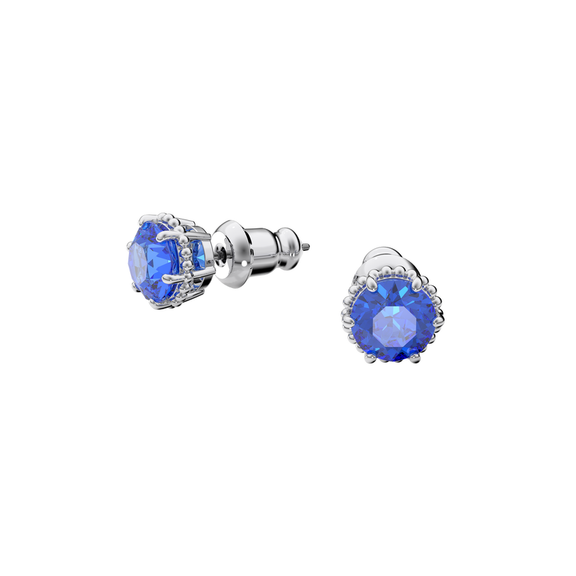 Birthstone earrings, September, Blue, Rhodium plated